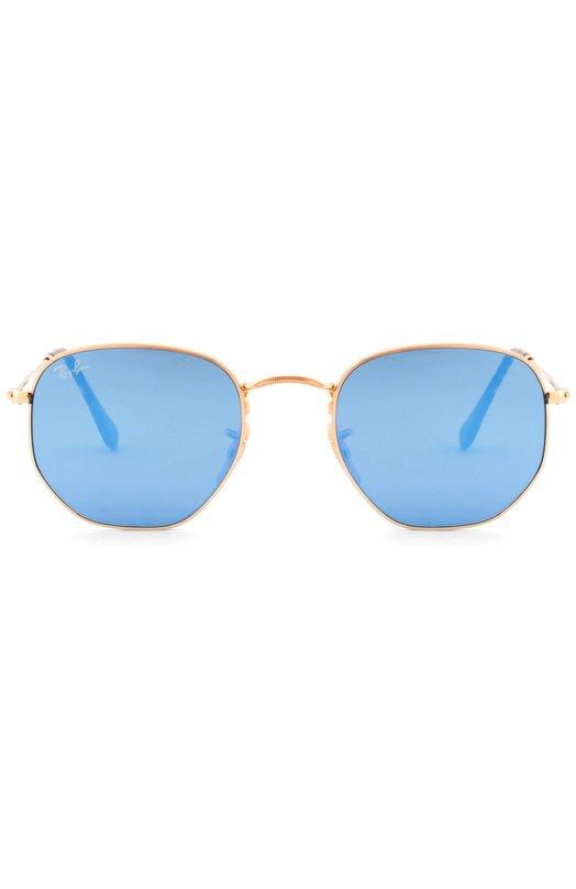 Солнцезащитные очки Ray-BanОчки<br>Солнцезащитные очки из коллекции сезона осень-зима 2016 года дополнены градиентными зеркальными линзами синего цвета. Для создания тонкой шестиугольной оправы использован полированный металл. Заушники выполнены из коричневого пластика с черепаховым принтом.<br><br>Пол: Женский<br>Возраст: Взрослый<br>Размер производителя vendor: NS<br>Цвет: Золотой