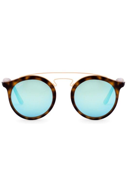 Солнцезащитные очки Ray-BanОчки<br>Для изготовления круглой оправы с двойным мостом использована комбинация прочного коричневого пластика, имитирующего панцирь черепахи, и полированного металла. Солнцезащитные очки Gatsby I с синими зеркальными стеклами вошли в коллекцию сезона осень-зима 2016 года.<br><br>Пол: Женский<br>Возраст: Взрослый<br>Размер производителя vendor: NS<br>Цвет: Синий