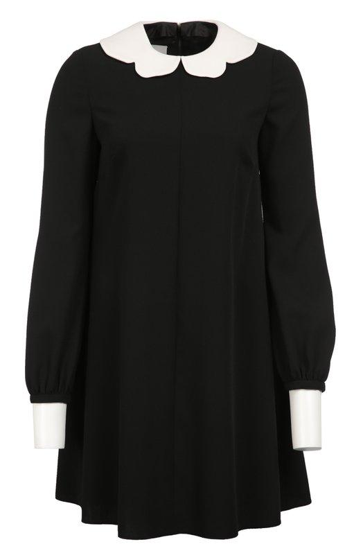 Мини-платье свободного кроя с контрастными воротником и манжетами ValentinoПлатья<br><br><br>Российский размер RU: 50<br>Пол: Женский<br>Возраст: Взрослый<br>Размер производителя vendor: 48<br>Материал: Подкладка-шелк: 100%; Шерсть: 100%;<br>Цвет: Черный