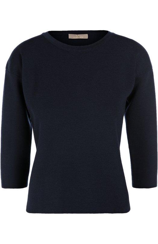 Шерстяной пуловер прямого кроя с укороченным рукавом CrucianiСвитеры<br>Темно-синий приталенный пуловер с круглым вырезом и рукавами 3/4 создан из мягкой шести, не подверженной выцветанию и деформации. Спинка модели из осенне-зимней коллекции 2016 года украшена позолоченной эмблемой бренда в форме сердца. Предлагаем носить с темной расклешенной юбкой и туфлями в тон.<br><br>Российский размер RU: 46<br>Пол: Женский<br>Возраст: Взрослый<br>Размер производителя vendor: 44<br>Материал: Шерсть: 100%;<br>Цвет: Темно-синий