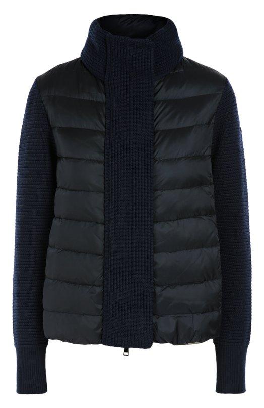 Вязаная куртка с утепленной вставкой и высоким воротником MonclerКуртки<br>Темно-синяя утепленная стеганная куртка из водоотталкивающего нейлона дополнена рукавами, высоким воротником-стойкой и планкой из фактурного шерстяного трикотажа. Модель из осенне-зимней коллекции 2016 года застегивается на молнию. Левый рукав украшен нашивкой в виде логотипа марки.<br><br>Российский размер RU: 44<br>Пол: Женский<br>Возраст: Взрослый<br>Размер производителя vendor: S<br>Материал: Пух: 90%; Полиамид: 100%; Подкладка-полиамид: 100%; Отделка-шерсть: 100%; Перо: 10%;<br>Цвет: Темно-синий