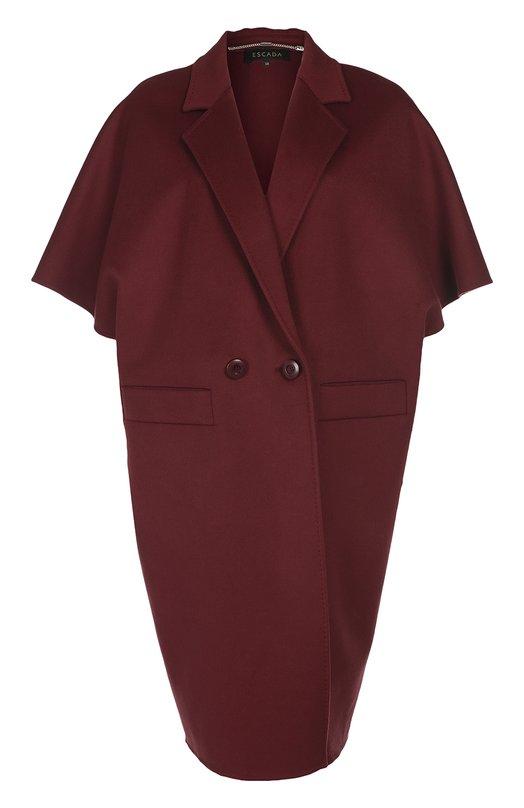 Двубортное пальто свободного кроя с укороченным рукавом EscadaПальто и плащи<br>Пальто-кокон с короткими рукавами и широкими лацканами выполнено из плотной ворсистой шерсти с добавлением кашемира. Модель из осенне-зимней коллекции 2016  года застегивается на две пуговицы. Рекомендуем носить с синими брюками, черными лоферами и водолазкой, а также темной сумкой.<br><br>Российский размер RU: 44<br>Пол: Женский<br>Возраст: Взрослый<br>Размер производителя vendor: 36<br>Материал: Шерсть: 70%; Кашемир: 30%;<br>Цвет: Бордовый