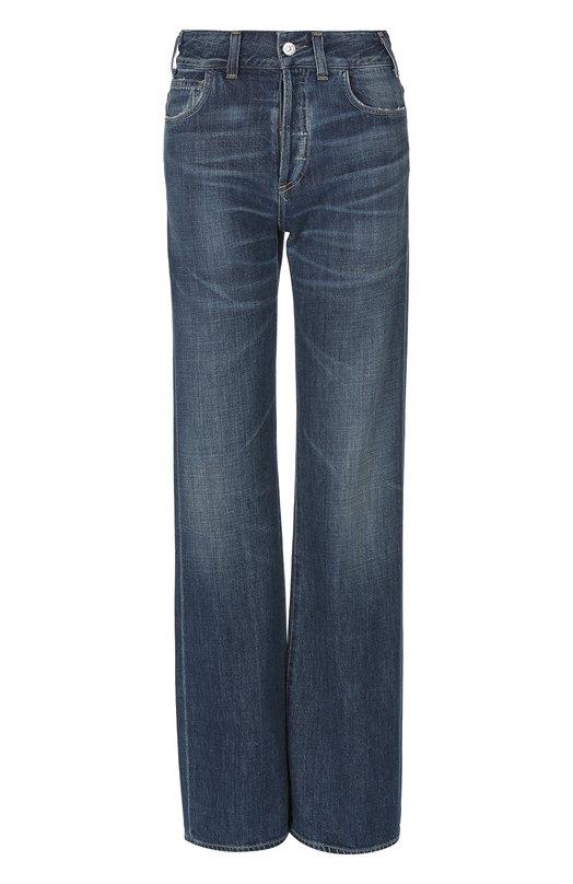 Расклешенные брюки с потертостями и завышенной талией Citizens Of HumanityДжинсы<br>Для производства синих джинсов мастера бренда использовали плотный фактурный хлопок с добавлением эластичных нитей. Дизайнеры марки включили расклешенную модель в осенне-зимнюю коллекцию 2016 года. Нам нравится сочетать с черными туфлями и сумкой.<br><br>Российский размер RU: 44<br>Пол: Женский<br>Возраст: Взрослый<br>Размер производителя vendor: 28<br>Материал: Хлопок: 77%; Вискоза: 23%;<br>Цвет: Синий