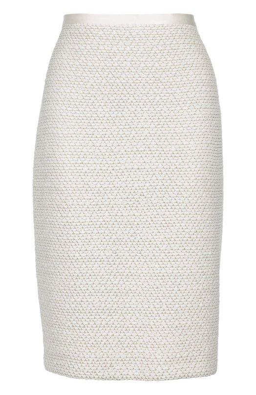 Буклированная юбка-карандаш с разрезом St. JohnЮбки<br>В коллекцию сезона осень-зима 2016 года вошла юбка-карандаш. Модель из эластичного фактурного твида белого цвета застегивается на потайную молнию сзади. Наши стилисты предлагают носить с белой блузой и серебристыми туфлями.<br><br>Российский размер RU: 46<br>Пол: Женский<br>Возраст: Взрослый<br>Размер производителя vendor: 8<br>Материал: Подкладка-шелк: 94%; Полиэстер: 7%; Подкладка-эластан: 6%; Полиамид: 47%; Вискоза: 46%;<br>Цвет: Белый