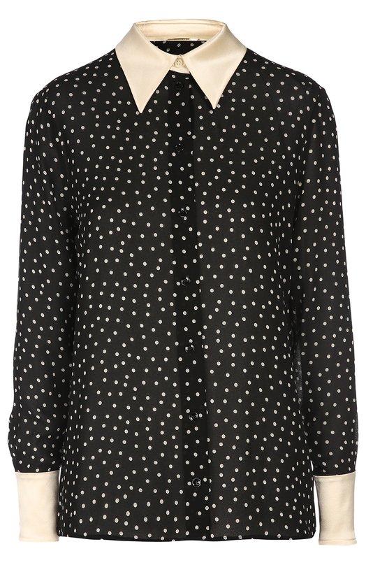 Блуза прямого кроя в горошек с контрастными воротником и манжетами Saint Laurent 441466/Y343W
