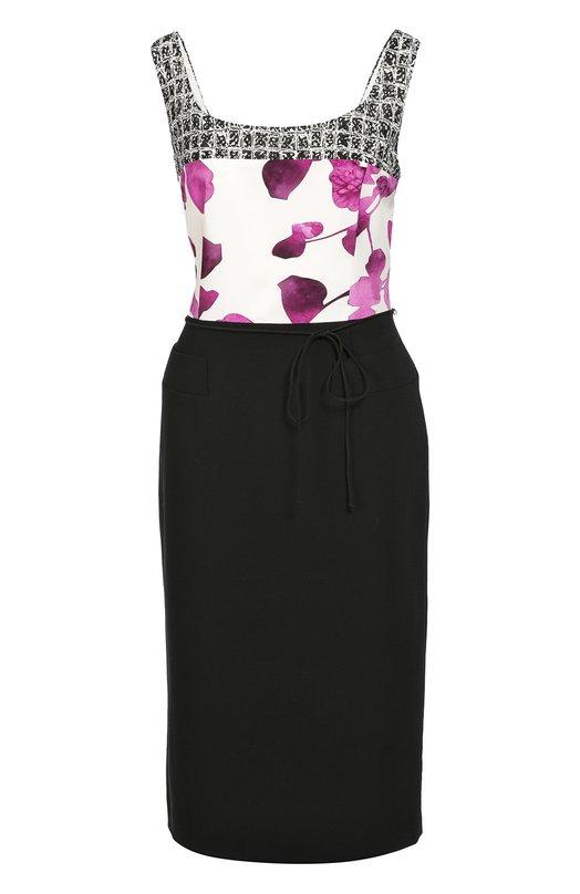 Облегающее платье с поясом и разноцветным принтом EscadaПлатья<br>Для создания приталенного платья без рукавов  использовано сочетание тканей разных цветов и фактур: лиф сшит из мягкого шелка с розовым цветочным принтом, подол – из плотной черной шерсти. Модель вошла в осенне-зимнюю коллекцию 2016 года. Рекомендуем носить с темными сумкой и туфлями.<br><br>Российский размер RU: 44<br>Пол: Женский<br>Возраст: Взрослый<br>Размер производителя vendor: 36<br>Материал: Шерсть: 98%; Подкладка-купра: 94%; Подкладка-эластан: 6%; Эластан: 2%; Отделка-шелк: 100%;<br>Цвет: Черный