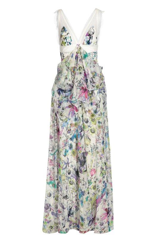 Купить Шелковое платье в пол с завышенной талией и цветочным принтом Roberto Cavalli, DKT126/GFW60, Италия, Белый, Отделка-шелк: 78%; Отделка-вискоза: 6%; Отделка-полиамид: 16%; Шелк: 100%; Подкладка-шелк: 100%;