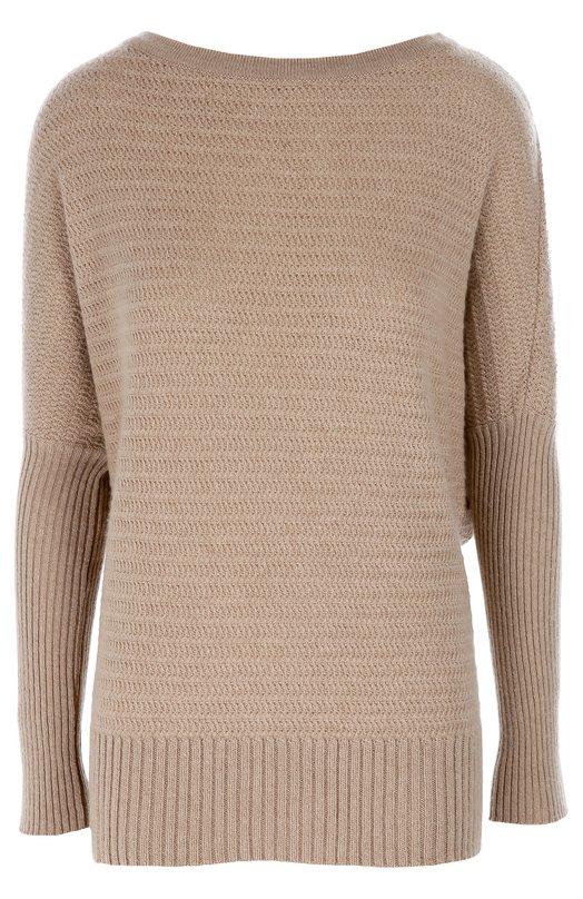 Удлиненный кашемировый пуловер со спущенным рукавом Ralph LaurenСвитеры<br>Ральф Лорен включил серый пуловер с фактурным узором, имитирующими тканый рисунок «елочка», в коллекцию сезона осень-зима 2016 года. Модель с вырезом бато выполнена из мягкой кашемировой пряжи. Пояс и длинные рукава связаны в технике английской резинки.<br><br>Российский размер RU: 44<br>Пол: Женский<br>Возраст: Взрослый<br>Размер производителя vendor: M<br>Материал: Кашемир: 99%; Полиамид: 1%;<br>Цвет: Бежевый
