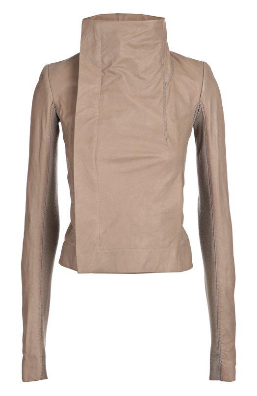 Укороченная кожаная куртка с косой молнией и высоким воротником Rick OwensКуртки<br>&amp;bull; Москва 1 260 EUR (88 200 RUB)&amp;bull; Милан 1 510 EUR&amp;bull; Лондон 1 400 EUR (1 260 GBP)&amp;bull; Дубай 1 840 EUR (7 450 AED)Для производства серой утепленной косухи из осенне-зимней коллекции 2016 года Рик Оуэнс выбрал матовую гладкую кожу. Длинные рукава дополнены трикотажными вставками из плотной мягкой шерсти. Нам нравится сочетать с черными леггинсами, босоножками и топом.<br><br>Российский размер RU: 50<br>Пол: Женский<br>Возраст: Взрослый<br>Размер производителя vendor: 44<br>Материал: Кожа натуральная: 100%; Отделка-шерсть: 100%;<br>Цвет: Серый