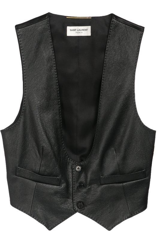 Кожаный укороченный жилет и карманами Saint Laurent 440246/Y5QQ2