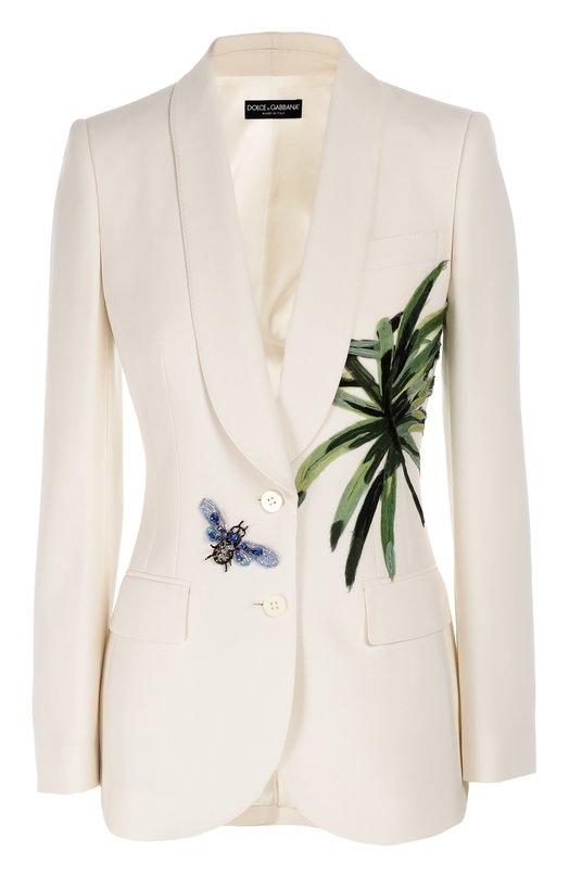 Приталенный жакет с шелковой аппликацией и декоративной отделкой Dolce & Gabbana 0102/F29Z6Z/FU2K8