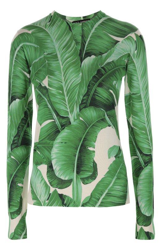 Шелковый топ с длинным рукавом и цветочным принтом Dolce &amp; GabbanaТопы<br>Доменико Дольче и Стефано Габбана выбрали для производства топа с длинными рукавами гладкий матовый шелк с мотивом в виде банановых листьев, характерным для осенне-зимней коллекции 2016 года. Наши стилисты рекомендуют носить с белыми брюками, темными туфлями и бежевой сумкой.<br><br>Российский размер RU: 40<br>Пол: Женский<br>Возраст: Взрослый<br>Размер производителя vendor: 38<br>Материал: Шелк: 100%;<br>Цвет: Зеленый