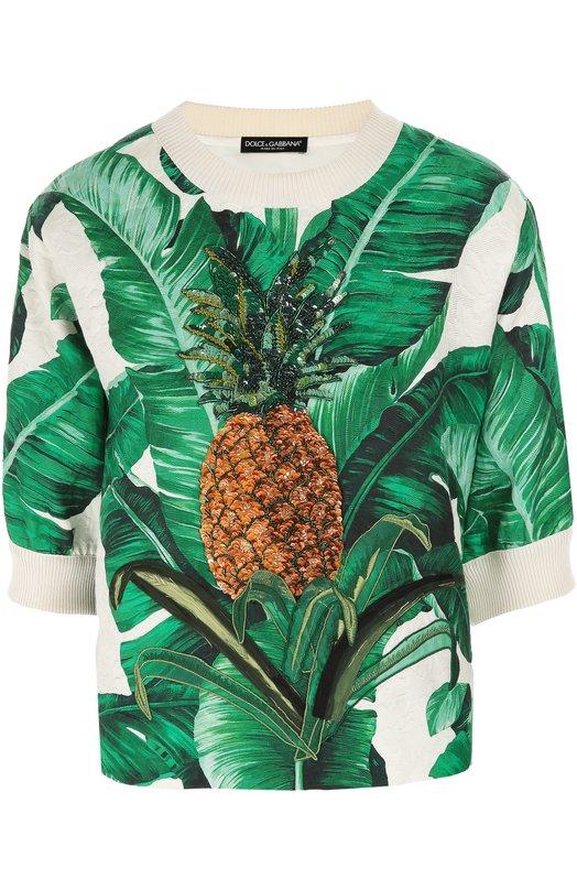 Топ прямого кроя с укороченным рукавом и цветочным принтом Dolce & Gabbana 0102/F9837Z/FSMY7