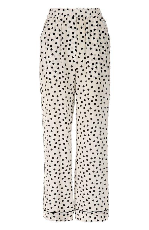 Шелковые брюки в горошек с эластичным поясом и карманами Dolce &amp; GabbanaБрюки<br>Доменико Дольче и Стефано Габбана включили в осенне-зимнюю коллекцию 2016 года брюки в пижамном стиле, с двумя боковыми карманами и эластичным поясом. Модель сшита из тонкого шелка-крепдешина в крупный горох. Советуем носить с рубашкой из аналогичной ткани, черными сабо и сумкой.<br><br>Российский размер RU: 46<br>Пол: Женский<br>Возраст: Взрослый<br>Размер производителя vendor: 44<br>Материал: Шелк: 100%;<br>Цвет: Черно-белый