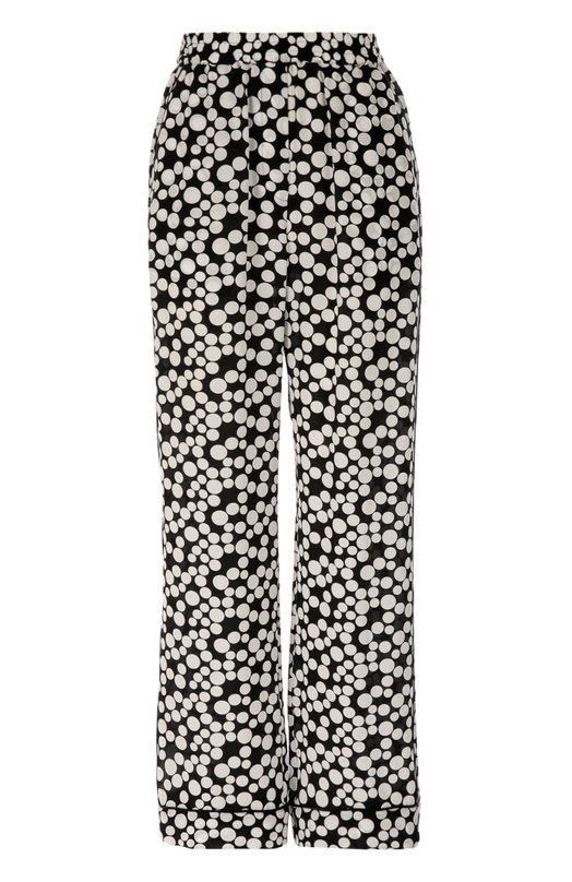 Шелковые прямые брюки в горошек с эластичным поясом Dolce &amp; GabbanaБрюки<br>Черно-белые брюки с двумя боковыми карманами и эластичным широким поясом вошли в коллекцию сезона осень-зима 2016 года. Доменико Дольче и Стефано Габбана выбрали для создания модели в пижамном стиле струящийся шелк-крепдешин в крупный горох. Нам нравится сочетать с рубашкой, туфлями и клатчем-книгой.<br><br>Российский размер RU: 40<br>Пол: Женский<br>Возраст: Взрослый<br>Размер производителя vendor: 38<br>Материал: Шелк: 100%;<br>Цвет: Черно-белый