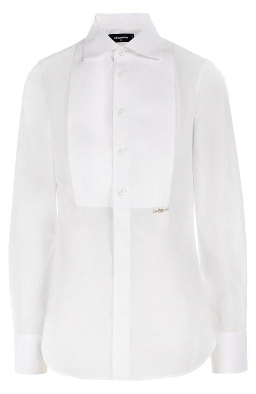 Приталенная блуза с планкой и декоративной отделкой Dsquared2Блузы<br>Приталенная белая рубашка с отложным воротником, длинными рукавами и манишкой сшита из эластичного хлопка поплина. Модель, украшенная позолоченной брошью с кристаллами, вошла в осенне-зимнюю коллекцию 2016 года. Советуем носить со смокингом и босоножками на шпильке.<br><br>Российский размер RU: 44<br>Пол: Женский<br>Возраст: Взрослый<br>Размер производителя vendor: 44<br>Материал: Хлопок: 96%; Эластан: 4%;<br>Цвет: Белый