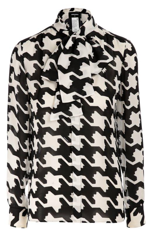 Шелковая блуза с принтом гусиная лапка и воротником-аскот Dsquared2Блузы<br>Блуза прямого кроя, с длинными рукавами и воротником-аскот выполнена из тонкого струящегося шелка с крупным черно-белым принтом пье-де-пуль. Модель вошла в коллекцию сезона осень-зима 2016 года. Наши стилисты рекомендуют носить с темными миди-юбкой и туфлями-лодочками, а также красной сумкой.<br><br>Российский размер RU: 46<br>Пол: Женский<br>Возраст: Взрослый<br>Размер производителя vendor: 44<br>Материал: Шелк: 100%;<br>Цвет: Черно-белый