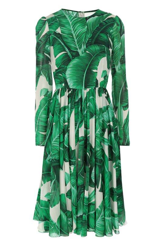 Приталенное шелковое платье с длинным рукавом и круглым вырезом Dolce &amp; GabbanaПлатья<br>Доменико Дольче и Стефано Габбана включили в осенне-зимнюю коллекцию 2016 года приталенное платье с длинными рукавами и круглым вырезом. Модель сшита из тонкого шелка с принтом в виде банановых листьев, на создание которого дизайнеров вдохновил Ботанический сад в Палермо.<br><br>Российский размер RU: 40<br>Пол: Женский<br>Возраст: Взрослый<br>Размер производителя vendor: 38<br>Материал: Шелк: 85%; Эластан: 4%; Полиамид: 4%; Хлопок: 16%;<br>Цвет: Зеленый