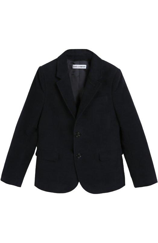 Хлопковый пиджак с контрастными элементами Dolce &amp; GabbanaПиджаки<br>Однобортный пиджак с широкими лацканами вошел в осенне-зимнюю коллекцию 2016 года. Доменико Дольче и Стефано Габбана выбрали для изготовления модели плотный синий хлопок. Длинные рукава дополнены на локтях заплатками из прочного текстиля. Изделие может стать основной школьного образа.<br><br>Размер Years: 12<br>Пол: Мужской<br>Возраст: Детский<br>Размер производителя vendor: 146-152cm<br>Материал: Хлопок: 100%; Подкладка-вискоза: 100%;<br>Цвет: Темно-синий