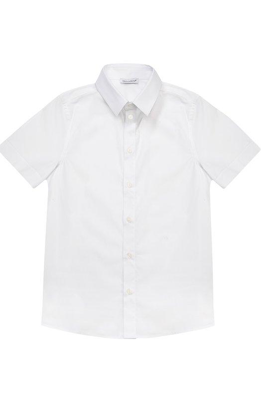 Хлопковая рубашка с коротким рукавом Dolce & Gabbana 0131/L41S76/FUEAJ/8-12