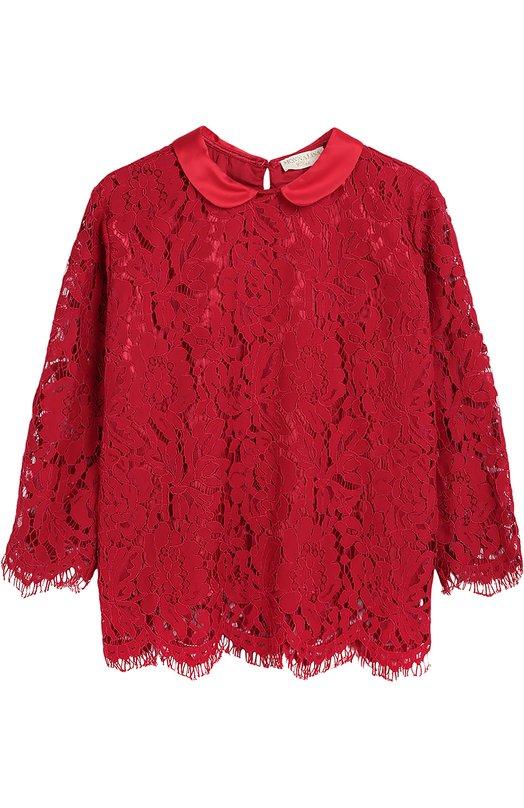 Кружевная блуза с отложным воротником Monnalisa 718607/8963/4-10