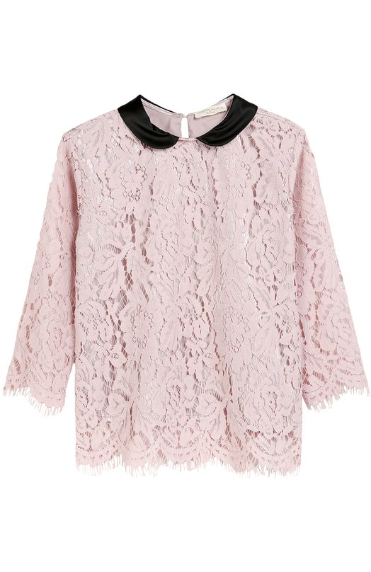 Кружевная блуза с отложным воротником MonnalisaБлузы<br>Блуза прямого кроя, с укороченными рукавами вошла в осенне-зимнюю коллекцию 2016 года. Мастера марки сшили модель из тонкого итальянского кружева пудрово-розового цвета, подкладку — из эластичного текстиля в тон, отложной воротник — из черной ткани с матовым блеском.<br><br>Размер Years: 6<br>Пол: Женский<br>Возраст: Детский<br>Размер производителя vendor: 116-122cm<br>Материал: Подкладка-полиэстер: 95%; Подкладка-эластан: 5%; Хлопок: 40%; Полиамид: 35%; Вискоза: 25%;<br>Цвет: Розовый