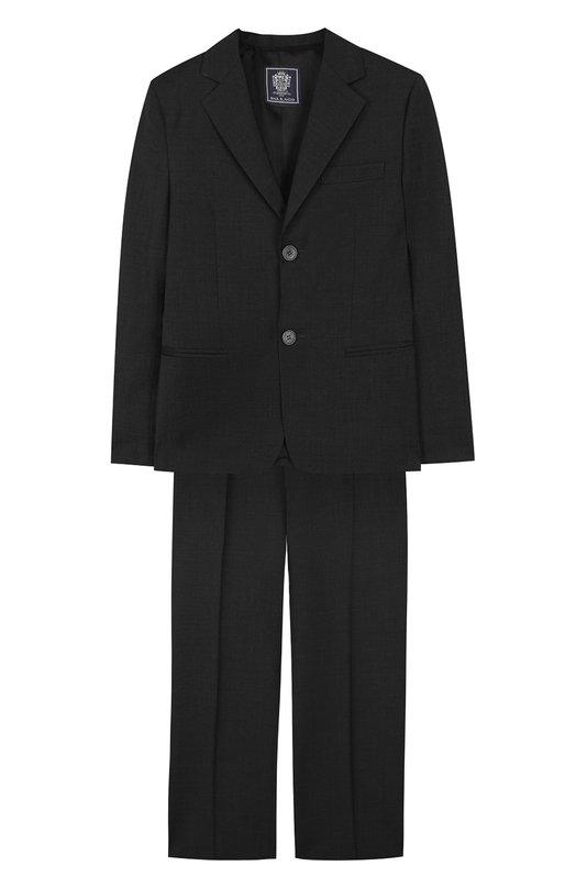 Шерстяной костюм с пиджаком на двух пуговицах Dal LagoКостюмы<br>В осеннее-зимней коллекции 2016 года мастера бренда обновили цветовую гамму костюма. Для производства однобортного пиджака и брюк со стрелками использована мягкая шерсть темно-серого цвета. Модель может стать основой базового гардероба.<br><br>Размер Years: 11<br>Пол: Мужской<br>Возраст: Детский<br>Размер производителя vendor: 146cm<br>Материал: Шерсть овечья: 100%; Подкладка-вискоза: 100%;<br>Цвет: Темно-серый
