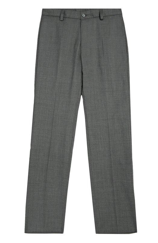 Классические шерстяные брюки Dal LagoБрюки<br>Для создания брюк с четырьмя карманами использована мягкая шерсть серого цвета. Модель со стрелками вошла в коллекцию сезона осень-зима 2016 года. Пояс дополнен шлевками для широкого ремня. Изделие может стать основной школьного образа.<br><br>Размер Years: 9<br>Пол: Мужской<br>Возраст: Детский<br>Размер производителя vendor: 134-140cm<br>Материал: Шерсть овечья: 100%; Подкладка-полиэстер: 100%;<br>Цвет: Серый