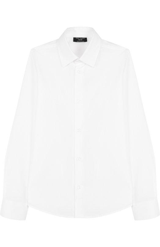 Хлопковая рубашка с воротником кент Dal LagoРубашки<br>Для изготовления рубашки с длинными рукавами и отложным воротником мастера бренда использовали мягкий хлопок белого цвета. Модель вошла в коллекцию сезона осень-зима 2016 года. Изделие и манжеты застегиваются на пуговицы. Советуем сочетать с брюками и школьным пиджаком.<br><br>Размер Years: 9<br>Пол: Мужской<br>Возраст: Детский<br>Размер производителя vendor: 134-140cm<br>Материал: Хлопок: 100%;<br>Цвет: Белый