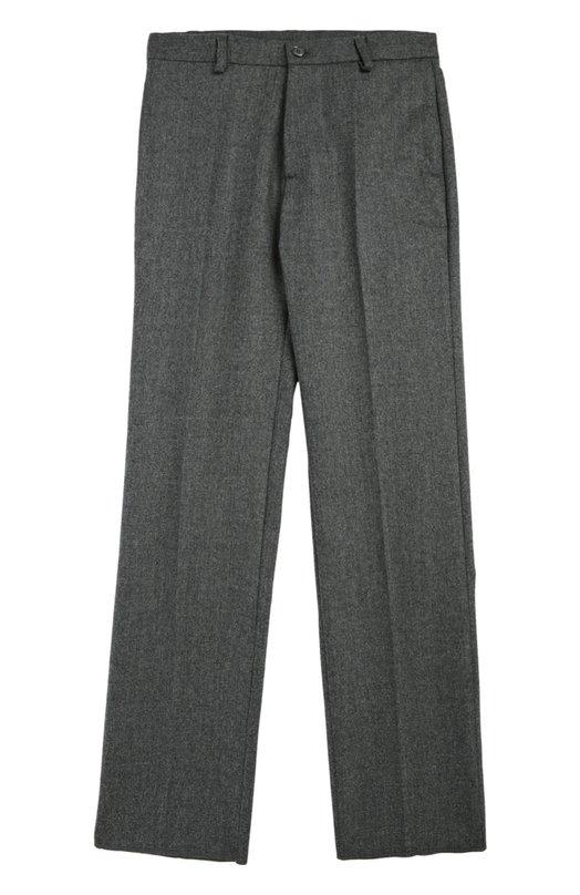 Классические шерстяные брюки Dal LagoБрюки<br>Для производства брюк со стрелками мастера марки использовали мягкую шерсть серого цвета. Модель с четырьмя карманами вошла в осеннее-зимнюю коллекцию 2016 года. Пояс дополнен шлевками для широкого ремня. Изделие может стать основной школьного образа.<br><br>Размер Years: 11<br>Пол: Мужской<br>Возраст: Детский<br>Размер производителя vendor: 146cm<br>Материал: Шерсть овечья: 100%; Подкладка-полиэстер: 100%;<br>Цвет: Серый