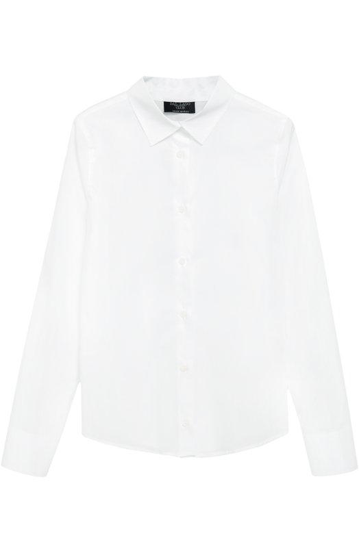 Хлопковая блуза с воротником кент Dal LagoБлузы<br>Рубашка с длинными рукавами и отложным воротником вошла в коллекцию сезона осень-зима 2016 года. Мастера марки выполнили модель из мягкого тонкого хлопка белого цвета. Изделие и манжеты застегиваются на пуговицы. Наши стилисты советуют сочетать с брюками и школьным жакетом.<br><br>Размер Years: 7<br>Пол: Женский<br>Возраст: Детский<br>Размер производителя vendor: 122-128cm<br>Материал: Хлопок: 100%;<br>Цвет: Белый