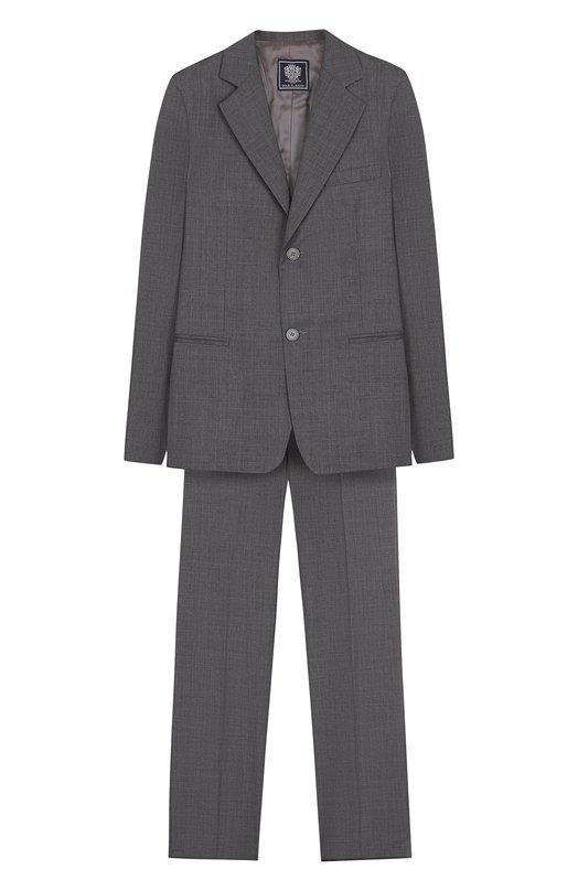 Шерстяной костюм с пиджаком на двух пуговицах Dal LagoКостюмы<br>В коллекции сезона осень-зима 2016 года дизайнеры бренда обновили цветовую гамму костюма, состоящего из однобортного пиджака и брюк со стрелками. Для производства модели использована мягкая ткань из овечьей шерсти. Пиджак и брюки могут стать основой школьного образа.<br><br>Размер Years: 12<br>Пол: Мужской<br>Возраст: Детский<br>Размер производителя vendor: 146-152cm<br>Материал: Шерсть овечья: 100%; Подкладка-вискоза: 100%;<br>Цвет: Серый