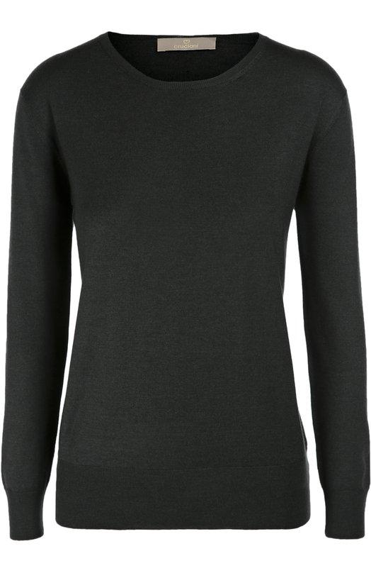 Кашемировый пуловер с укороченным рукавом и круглым вырезом CrucianiСвитеры<br>Темно-зеленый пуловер с укороченными рукавами и круглым вырезом выполнен из тонкого трикотажа на основе кашемира и шелка. Модель вошла в коллекцию сезона осень-зима 2016 года. Наши стилисты рекомендуют носить с бежевой юбкой, черными лоферами и сумкой изумрудного цвета.<br><br>Российский размер RU: 42<br>Пол: Женский<br>Возраст: Взрослый<br>Размер производителя vendor: 40<br>Материал: Кашемир: 70%; Шелк: 30%;<br>Цвет: Темно-зеленый