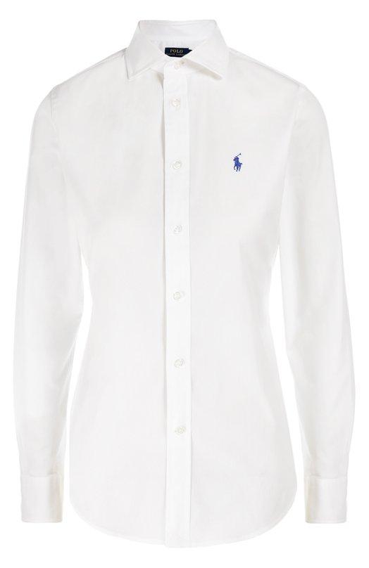 Приталенная хлопковая блуза с вышитым логотипом бренда Polo Ralph LaurenБлузы<br>Для производства белой рубашки Ральф Лорен выбрал тонкий гладкий хлопок с добавлением эластичных нитей. Модель из коллекции сезона осень-зима 2016 года декорирована вышивкой в виде эмблемы марки. Рекомендуем носить с синими джинсами, коричневыми туфлями, а также бежевым пуловером и бордовой сумкой.<br><br>Российский размер RU: 48<br>Пол: Женский<br>Возраст: Взрослый<br>Размер производителя vendor: 10<br>Материал: Хлопок: 95%; Эластан: 5%;<br>Цвет: Белый