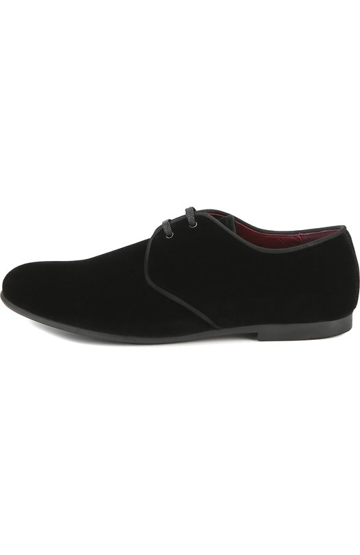 Бархатные туфли на шнуровке Dolce &amp; GabbanaТуфли<br>Доменико Дольче и Стефано Габбана включили в коллекцию сезона осень-зима 2016 года туфли с зауженным мысом, на тонкой подошве и небольшом каблуке. Мастера марки выполнили модель из мягкой фактурной замши черного цвета, отделку — из прочного текстиля в тон. Обувь фиксируют на ноге шнурки.<br><br>Российский размер RU: 32<br>Пол: Мужской<br>Возраст: Детский<br>Размер производителя vendor: 32<br>Материал: Стелька-кожа: 100%; Подошва-резина: 100%; Текстиль: 100%;<br>Цвет: Черный