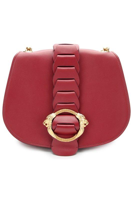 Кожаная сумка на цепочке с металлической пряжкой Roberto Cavalli DQB829/PZ003