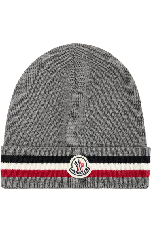 Шерстяная шапка с контрастной отделкой Moncler B2-091-00328-00-02292