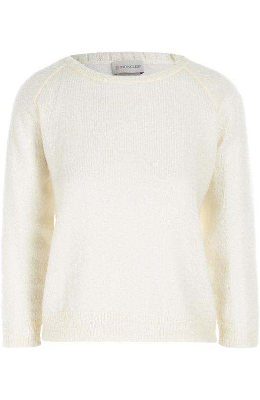 Пуловер с укороченным рукавом и круглым вырезом MonclerСвитеры<br>Белый пуловер с круглым вырезом вошел в коллекцию сезона осень-зима 2016 года. Модель связана из мягкой пряжи с добавлением мохера, шерсти и эластичных нитей. Рекомендуем сочетать с косухой, мини-юбкой и полуботинками.<br><br>Российский размер RU: 42<br>Пол: Женский<br>Возраст: Взрослый<br>Размер производителя vendor: XS<br>Материал: Мохер: 50%; Полиамид: 32%; Подкладка-полиэстер: 100%; Шерсть: 10%;<br>Цвет: Белый