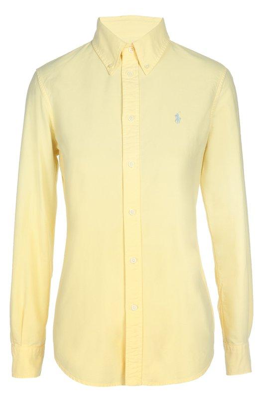 Приталенная блуза с вышитым логотипом бренда Polo Ralph LaurenБлузы<br>Ральф Лорен включил желтую приталенную рубашку в коллекцию сезона осень-зима 2016 года. Модель с длинными рукавами декорирована вышитой эмблемой бренда в виде игрока в поло. Нам нравится сочетать с голубыми джинсами, светлыми кедами и сумкой.<br><br>Российский размер RU: 42<br>Пол: Женский<br>Возраст: Взрослый<br>Размер производителя vendor: S<br>Материал: Хлопок: 100%;<br>Цвет: Желтый