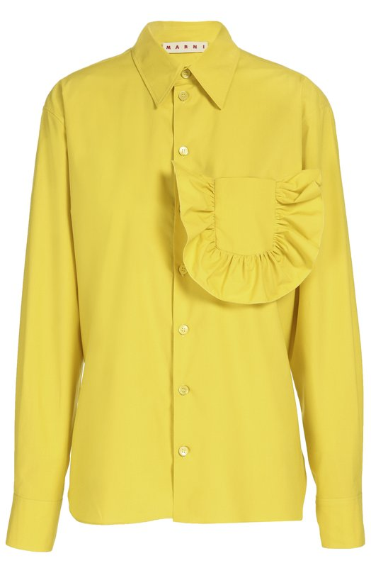 Блуза прямого кроя с декорированным накладным воротником Marni CAMAU06A00TCS39