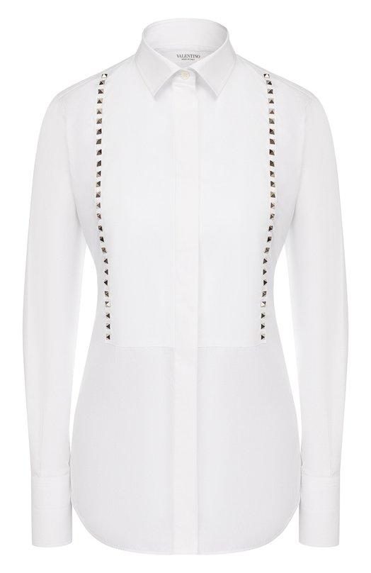 Купить Приталенная блуза с планкой и металлическими шипами Valentino, LB3AB05U/1LW, Италия, Белый, Хлопок: 100%;