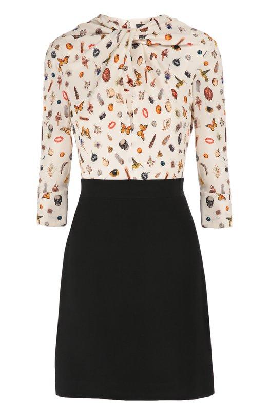 Приталенное мини-платье с контрастным принтом и вырезом-капелька Alexander McQueenПлатья<br>Комбинированное платье с драпированным вырезом и черным подолом выполнено из плотного матового шелка-жоржет. Лиф в виде блузы сшит из ткани с принтом Obsession, характерным для осенне-зимней коллекции бренда, основанного Александром Маккуином. Модель застегивается на потайную молнию сзади.<br><br>Российский размер RU: 42<br>Пол: Женский<br>Возраст: Взрослый<br>Размер производителя vendor: 42<br>Материал: Шелк: 100%; Вискоза: 100%; Подкладка-шелк: 100%;<br>Цвет: Кремовый