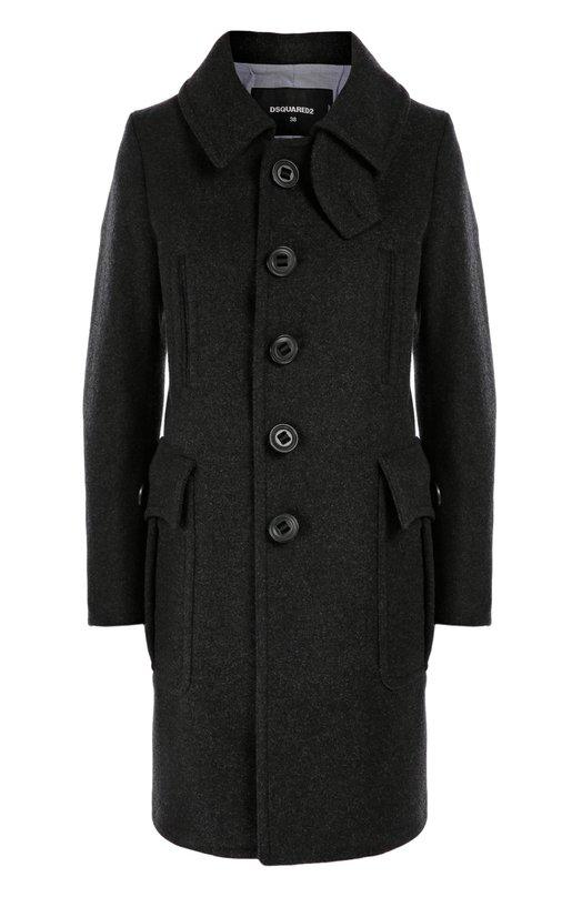 Шерстяное пальто прямого кроя с накладными карманами Dsquared2Пальто и плащи<br>Прямое пальто из непродуваемого шерстяного драпа темно-серого цвета вошло в осенне-зимнюю коллекцию 2016 года. Модель с длинными рукавами  дополнена двумя нагрудными прорезными и двумя боковыми накладными карманами. Съемная вставка, защищающая шею от ветра, фиксируется под воротником.<br><br>Российский размер RU: 48<br>Пол: Женский<br>Возраст: Взрослый<br>Размер производителя vendor: 46<br>Материал: Шерсть: 80%; Полиамид: 20%; Подкладка-хлопок: 100%;<br>Цвет: Темно-серый