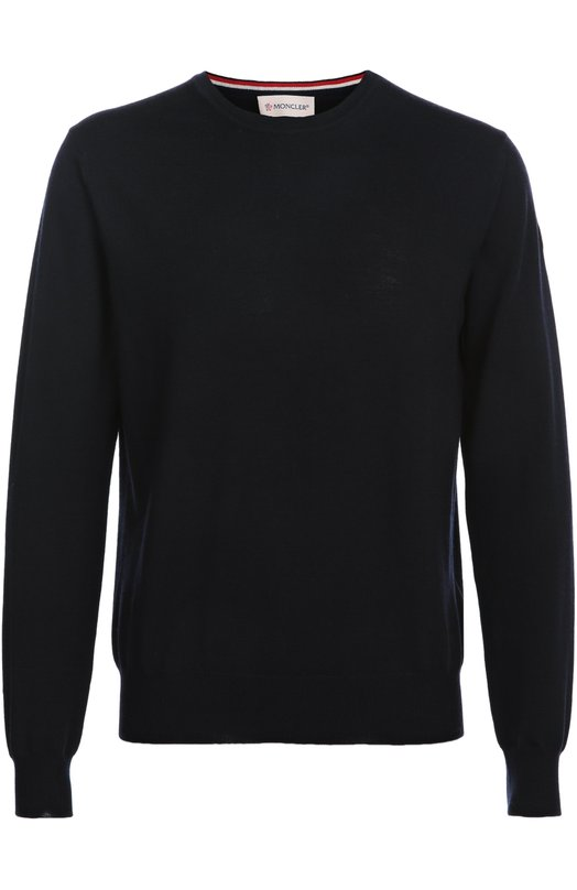 Шерстяной джемпер с круглым вырезом MonclerСвитеры<br>В осенне-зимнюю коллекцию 2016 года вошел темно-синий облегающий пуловер с круглым вырезом. Левый рукав украшен нашивкой в виде эмблемы марки. Модель выполнена из ультратонкой шерстяной пряжи. Попробуйте сочетать с кедами в тон и голубыми джинсами.<br><br>Российский размер RU: 52<br>Пол: Мужской<br>Возраст: Взрослый<br>Размер производителя vendor: XL<br>Материал: Шерсть овечья: 100%;<br>Цвет: Темно-синий