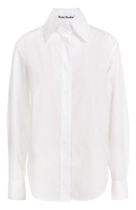 Хлопковая блуза прямого кроя с высоким воротником Acne Studios 11E163