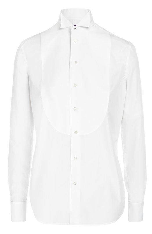 Приталенная хлопковая блуза с манишкой Ralph LaurenБлузы<br>Белая рубашка из мягкого гладкого хлопка дополнена манишкой из фактурного пике. Ральф Лорен включил модель с воротником бабочкой и длинными рукавами в осенне-зимнюю коллекцию 2016 года. Французские манжеты застегиваются на перламутровые запонки. Советуем носить с черными костюмом и туфлями.<br><br>Российский размер RU: 42<br>Пол: Женский<br>Возраст: Взрослый<br>Размер производителя vendor: 4<br>Материал: Хлопок: 100%;<br>Цвет: Белый