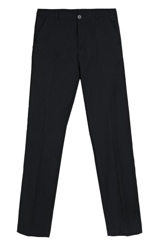 Классические брюки прямого кроя AlettaБрюки<br>Прямые брюки со стрелками вошли в коллекцию сезона осень-зима 2016 года. При создании модели мастера марки использовали плотную костюмную шерсть синего цвета. Пояс дополнен шлевками для широкого ремня. Изделие может стать основной школьного образа.<br><br>Российский размер RU: 38<br>Пол: Мужской<br>Возраст: Детский<br>Размер производителя vendor: 10A<br>Материал: Подкладка-ацетат: 60%; Подкладка-вискоза: 40%; Шерсть: 100%;<br>Цвет: Темно-синий