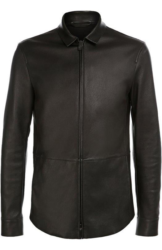 Кожаная куртка с отложным воротником Giorgio ArmaniКуртки<br><br><br>Российский размер RU: 56<br>Пол: Мужской<br>Возраст: Взрослый<br>Размер производителя vendor: 54<br>Материал: Подкладка-хлопок: 97%; Подкладка-эластан: 3%; Кожа натуральная: 100%;<br>Цвет: Черный
