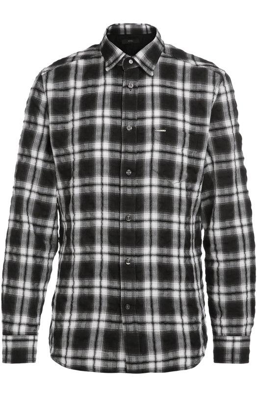 Рубашка в клетку с эффектом помятости DieselРубашки<br>Рубашка Oasis сшита из мягкого и дышащего хлопка крэш в черно-белую клетку. Модель с длинными рукавами вошла в коллекцию сезона осень-зима 2016 года. Накладной нагрудный карман украшен металлической пластиной с гравировкой в виде логотипа марки.<br><br>Российский размер RU: 50<br>Пол: Мужской<br>Возраст: Взрослый<br>Размер производителя vendor: L<br>Материал: Хлопок: 60%; Полиэстер: 40%;<br>Цвет: Черный