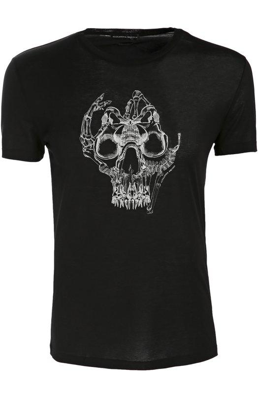 Хлопковая футболка с принтом Alexander McQueen 435907/QHZT8